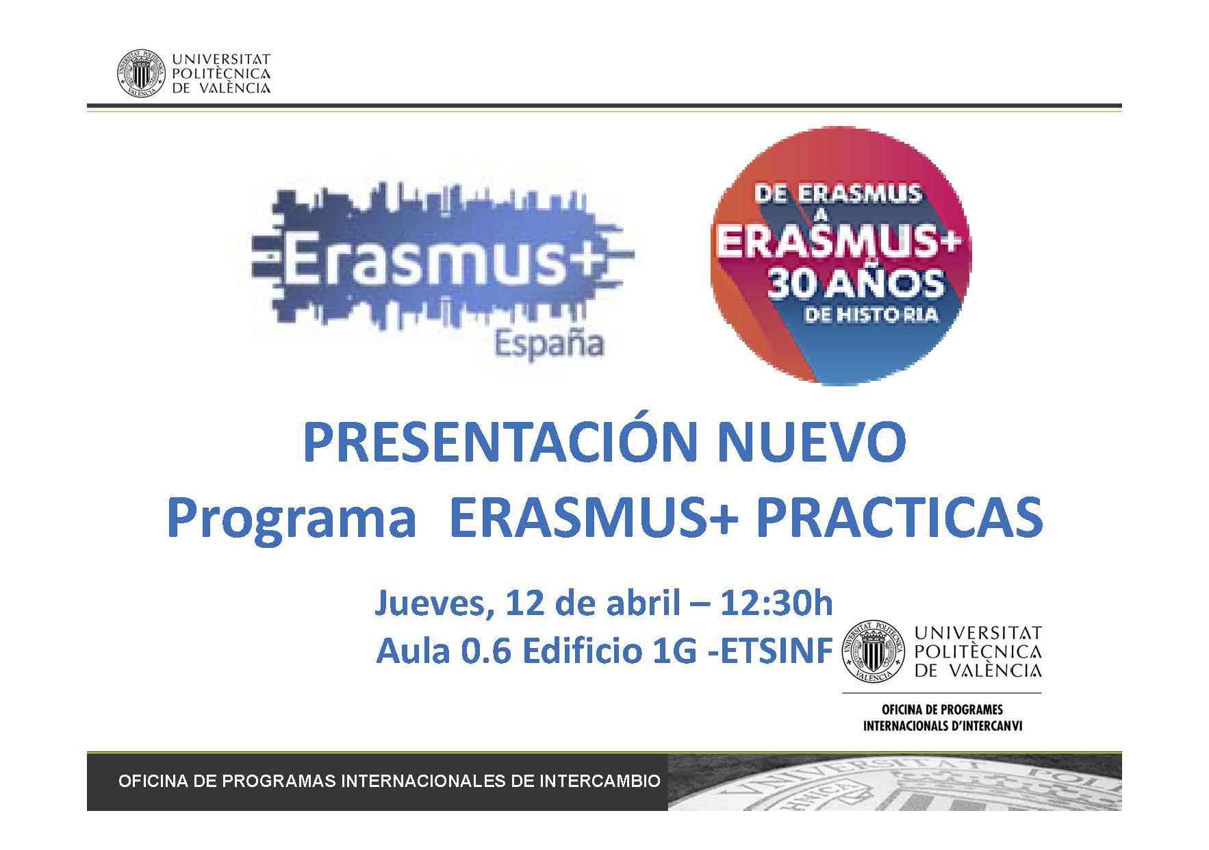 180412 - Presentación ERASMUS PRACTICAS E+